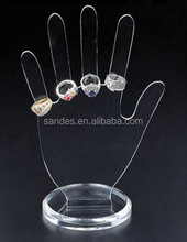 Hand Shape Clear Acrylic Jewelry Display Stand for Ring Display