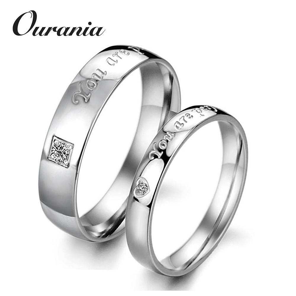 Wholesale You are Perfect in My Mind Words Engraved Titanium Couple Love Wedding Band Rings with Zircons Inlaid