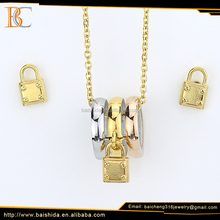 18K Dubai Gold Plated Lock Shape Necklace and Earring Rose Gold Baicheng Jewelry Set For Women