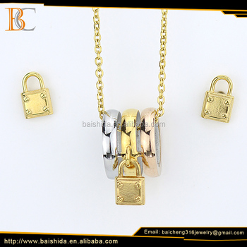 Plated Shape And Earring Rose Baicheng Jewelry Set Woman Multi Color 18k Gold Lock Necklace