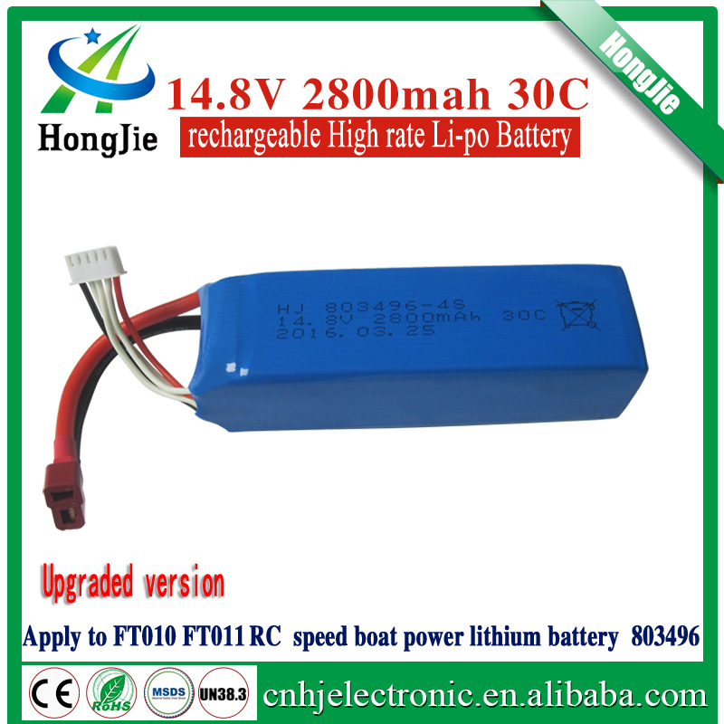 14.8V 2800mAh 30C 803496 the boat pvc 14.8v li-ion battery pack for FT010 FT011