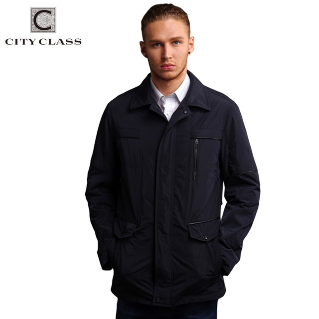14012 2016 Spring And Autumn Men's Casual Long Polyester Jackets High Quality Fashion Waterproof Cotton-Padded Jacket