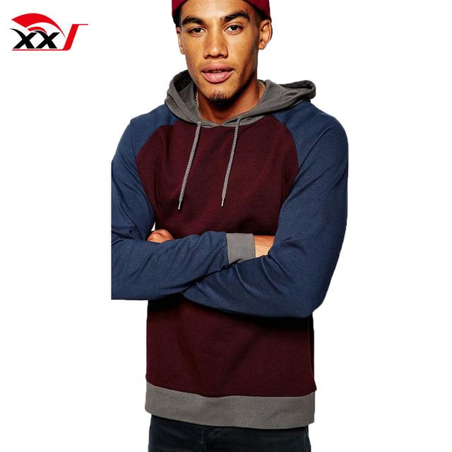 custom men wear winter raglan sleeve plain pullover hoodie