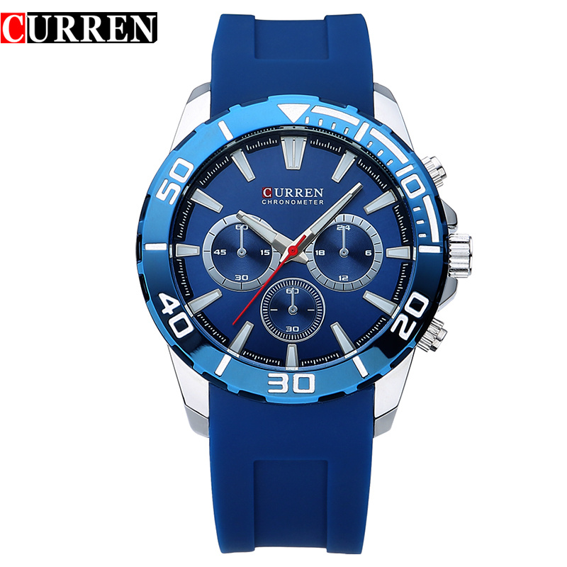 Curren 8185 Silicone Strap Men Business Quartz Watches fashion Luxury Military Wristwatches Buckle Sports relogio masculin