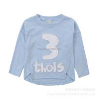 Cotton long sleeve letter printed custom children t shirt for boys