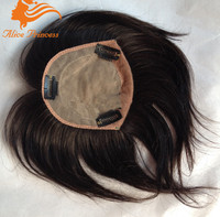 Women's Closure Wholesale natural color 4*4 silk base virgin brazilian remy hair clip in human hair toppers