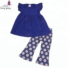 2018 European style children summer clothes sets baby girl cotton top with floral print bellbottoms 2pcs suits