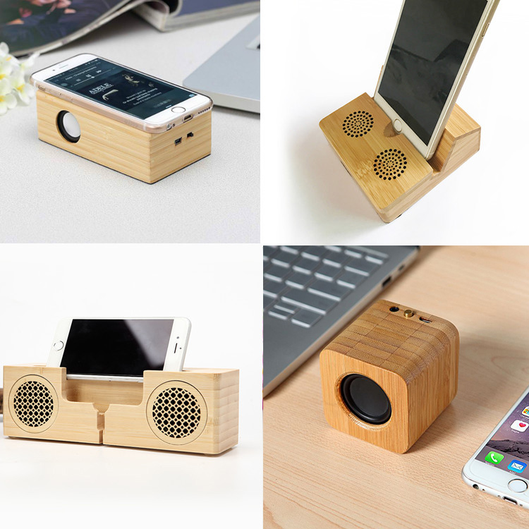 round bamboo mini wireless portable blue tooth speaker