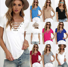 Z59869B Hot selling cheap price wholesale woman bulk v-neck tshirt wholesale