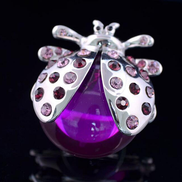 Purple Crystal Jewel Set Auger Ladybug Ring
