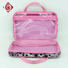 Durable polyester printed ladies makeup bag with 2 compartments