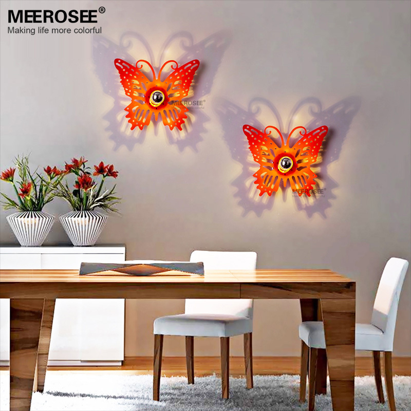 Red Butterfly LED E14 Socket Wall Sconce Lights Indoor MD81013