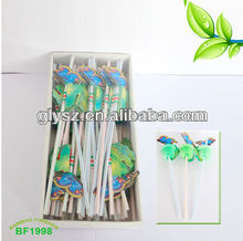 Flexible straw with butterfly ass