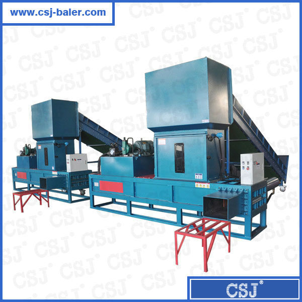 Big capacity woven plastic bags baler machine sawdust compress and bagging machine