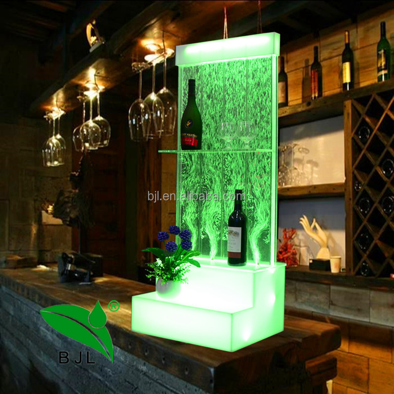 2018 Movable Mobile LED bubble whiskey wine <strong>cabinet</strong> with display shelves wine rack for KTV restaurant Bar Club store home