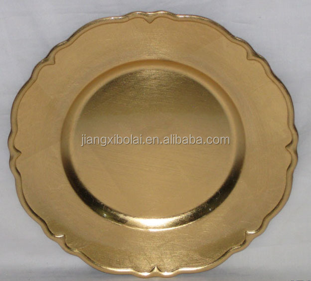 plastic christmas plates disposable for 33cm gold and sliver
