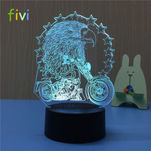 Eagle 3D Table Lamp Optical Illusion Bulbing Night Light 7 Colors Changing Night Light