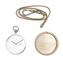 Japan movement genuine leather strap stainless steel back simple design pocket watch