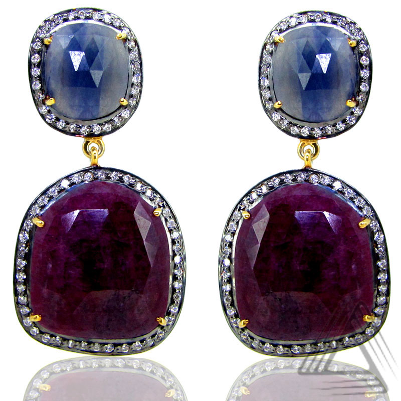 Diamond Danglers Earring, Multi Gemstones Earrings Jewelry