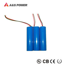 AS 2200mAh Cylindrical 18650 Li-ion Battery Pack 3.7V With Molex Connector