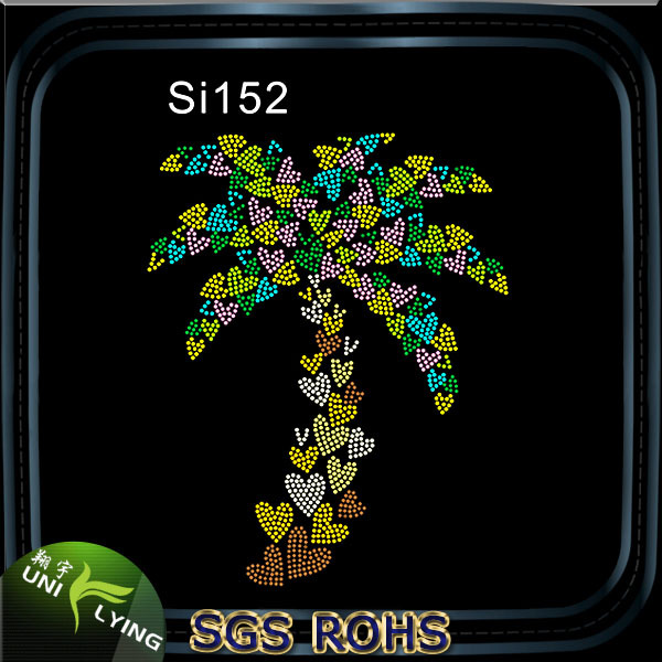 Shining coconut tree heart rhinestone motif designs