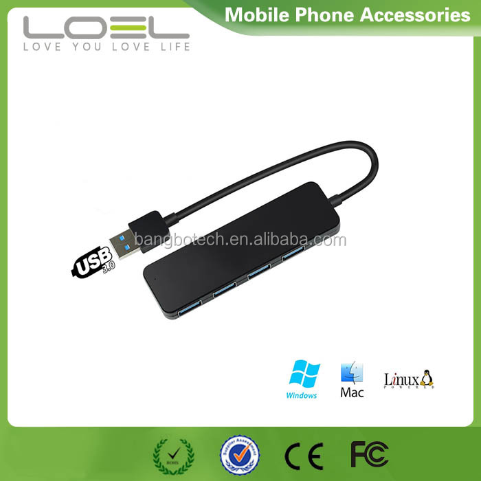 Ultra thin 4-Port USB 3.0 Data Hub with 6.3inch Cable