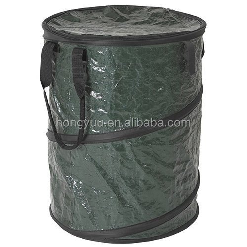Collapsible Pop Up Trash Can Outdoor Garden Plastic Folding Trash Bin Green