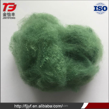 Wholesale flame retardant geotechnical fabric use material green dyed 15D polyester staple fiber plant