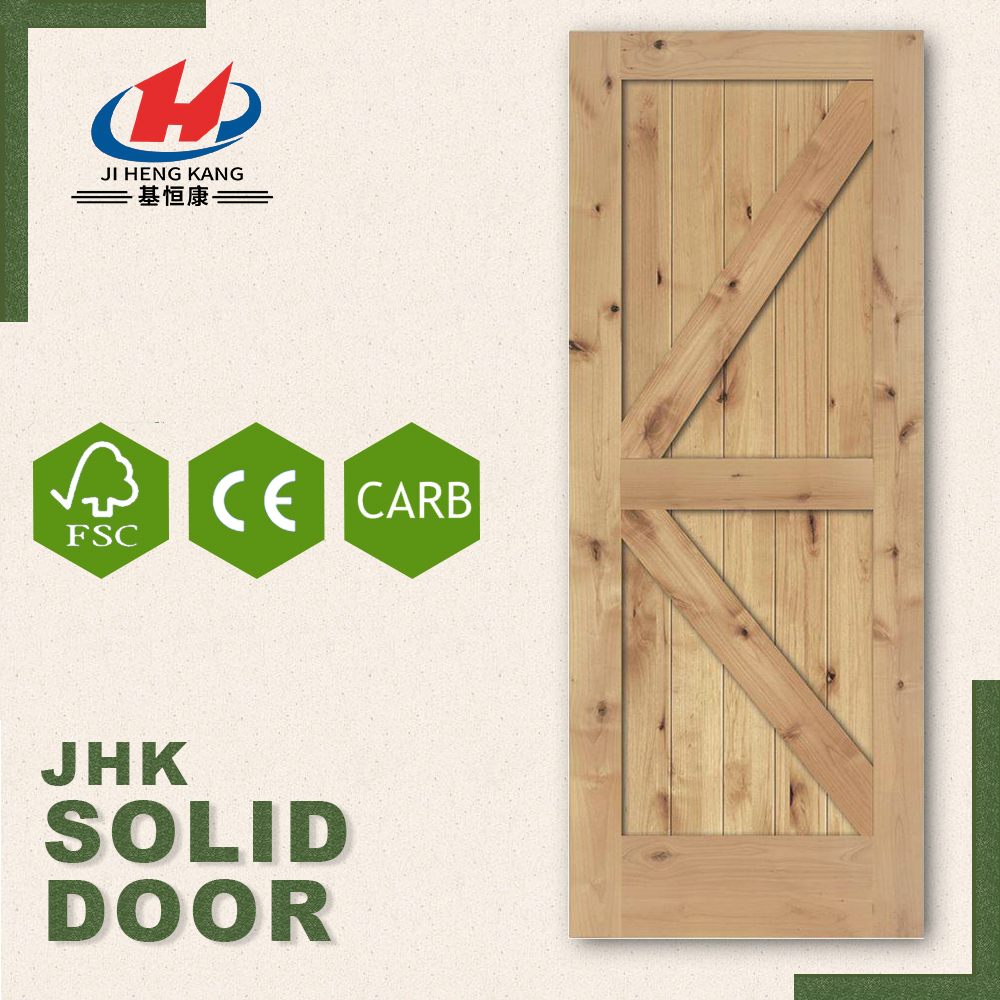 JHK- SK09 Arch Interior Solid Knotty Pine Wood Carving Front Shaker Door