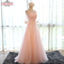 Cheap Tulle/Net half sleeve Pink Evening Dresses For Women