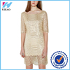 Yihao Golden Wave Lace Sequin Racer Back Dress Half Sleeve Women Party Dresses Vestidos for Wholesale