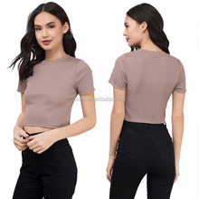 plain t shirt women tops ladies wholesale blank custom short sleeve o neck short style t-shirt for yong girls sexy mini tops