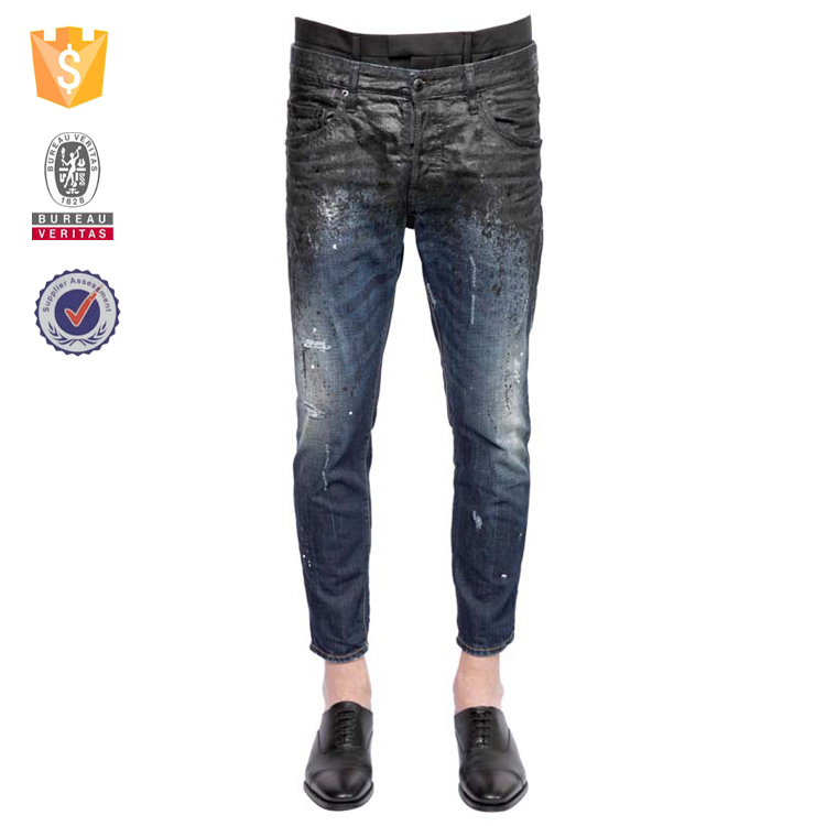 Faded ripped distressed jeans men denim