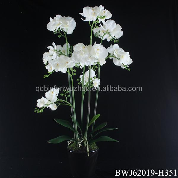 cheap artificial latex flowers orchids arrangement in pot decorative