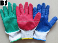 BSSAFETY 10 gauge colorful nutural cotton knitted latex coated safety gloves china supplier
