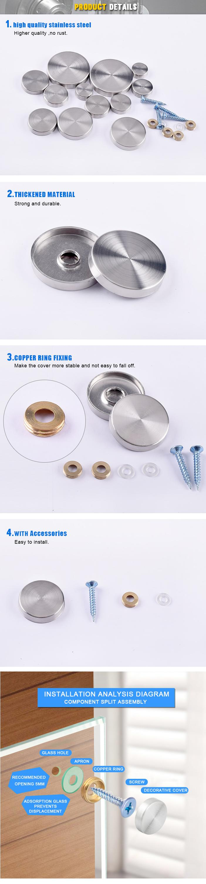 Factory direct stainless steel decorative screws heavy mirror wall fixings