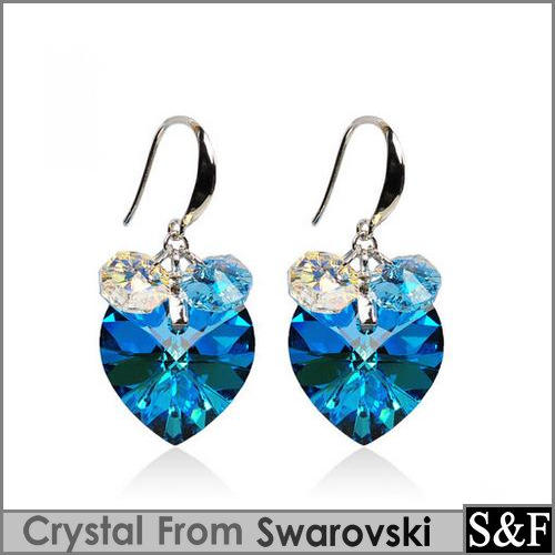 100% Genuine Crystal from swarovski heart pendant earrings silver 925