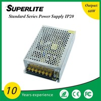 CE FCC Approved outlet 60w 24v 5a ac/dc switch mode power supply / smps