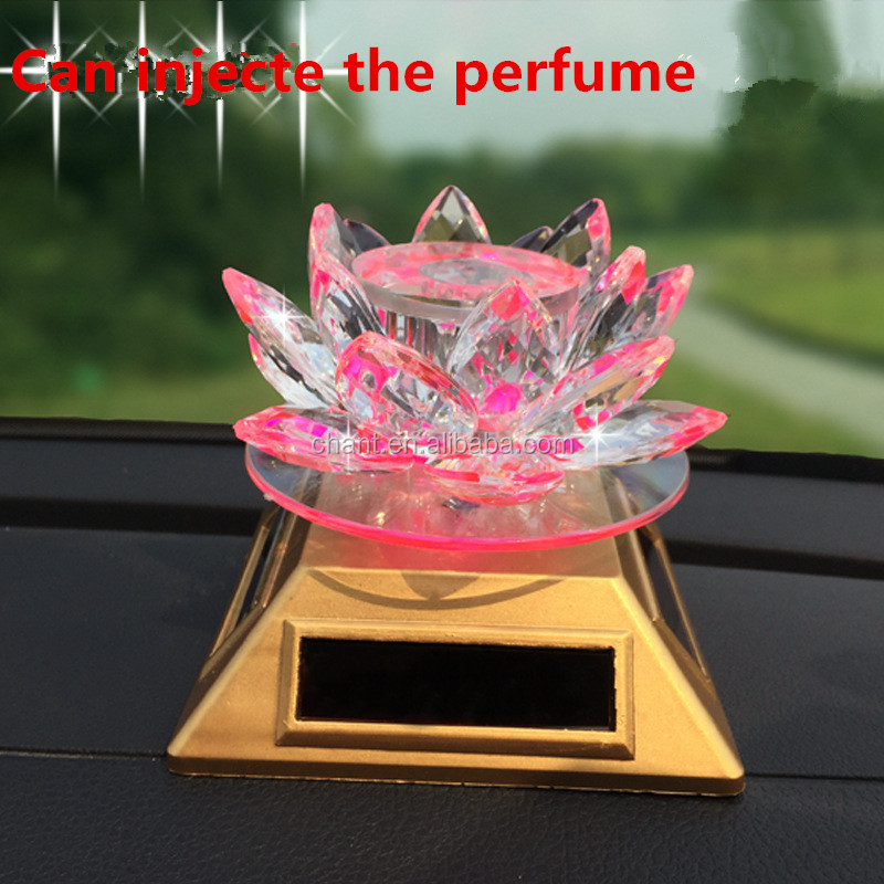 Lotus solar car perfume furnishing articles gifts creative acrylic crystal car perfume