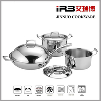 Whole-Clad Tri-Ply Stainless Steel Induction Ready Premium Cookware 30cm wok, 24cm stockpot, 20cm stockpot