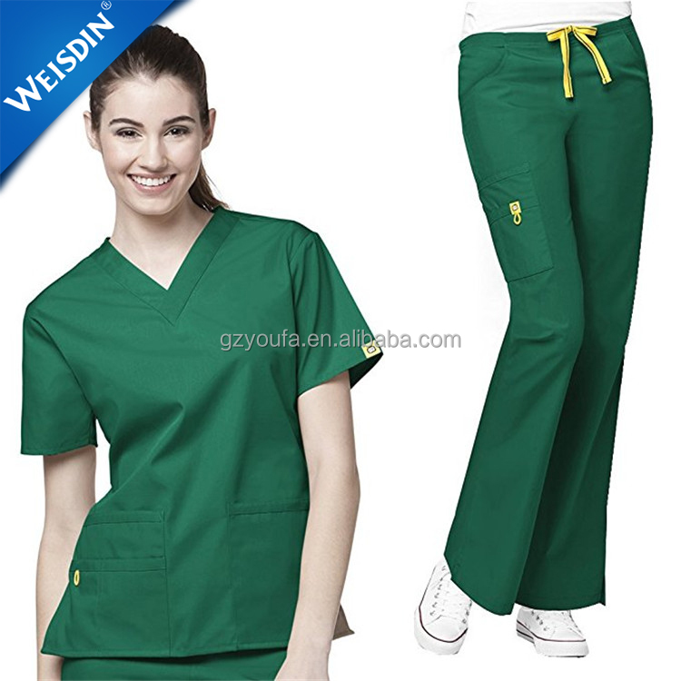 Top quality v-neck short sleeve solid color wholesale scrubs uniform medical scrub suits