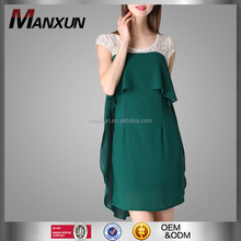 Chinese Clothing Manufacturers Fashion Dress Women Green Chiffon Sleeveless Cocoon Plain Bodycon Dress