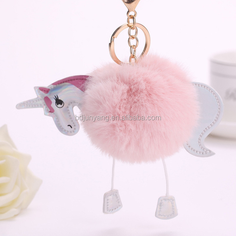 Cute keychain imitated fur unicorn fur ball bag charm fur pom poms