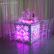 wooden frame glass top dining table, folding assemble wedding table
