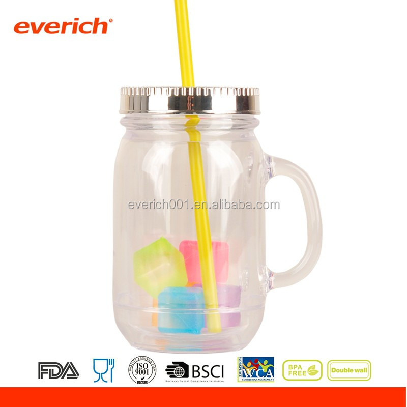New design double wall acrylic tumbler with straw wholesale