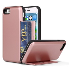 Glossy PC TPU Back Stand Cover Cell Phone Case with Card Slot for iPhone 6