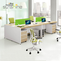 Computer Desk Willow Tabletop 4 Seats Funiture Workstation Office Partition