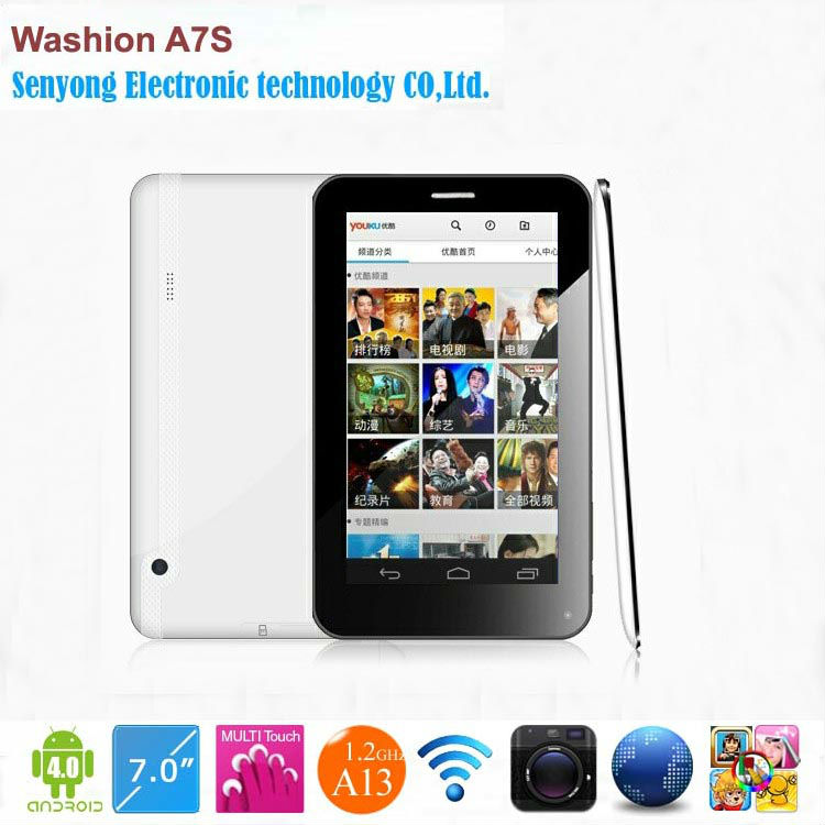 7'' Washion GSM A7S Multi Touch Screen Allwinner A13 <strong>1</strong>.2GHz Phone Call Tablet with SIM Card slot Wifi dual camera