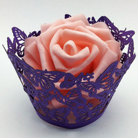 2015Teda Free Shipping Laser cut Dark Purple Butterfly cupcake wrappers(ZB-005)