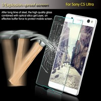 Popular high clear 2.5D 9H hardness tempered glass screen protector for Sony C5 Ultra